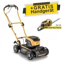Stiga Akku-Rasenmäher Multiclip 47 S DAE + Heckenschere SHT 500 AE